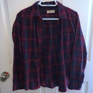 Dark red, blue, and green Hollister flannel